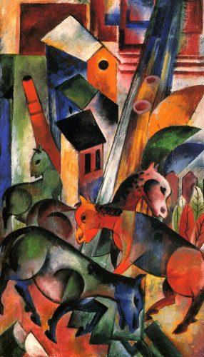 Hohes Bild mit Pferden 1914